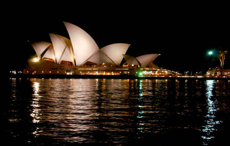 sydney skyline: SYDNEY, AUSTRALIA ? AUGUST 18: view of the Opera House in Sydney bay on August 18, 2010 in Sydney, Australia. The Opera House Theatre is a famous landmark for Sydney and for whole australia Editorial