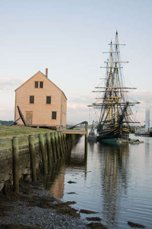 old galeon and old harbor in Salem massachussets Usa
