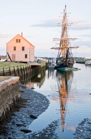 massachussets: old galleon and old harbor in Salem massachussets Usa