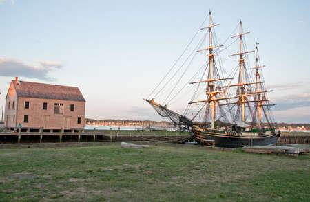 old galleon and old harbor in Salem massachussets Usa