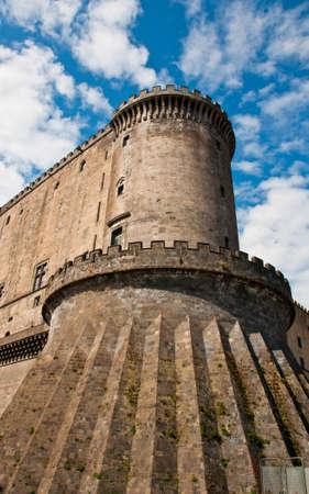 view of the Maschio Angioino castle, Napoli, Italy