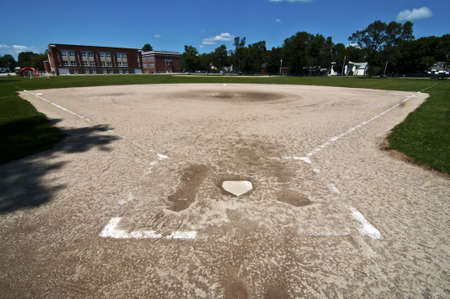 pitchers mound: baseball pitch next to american school, USA Editorial