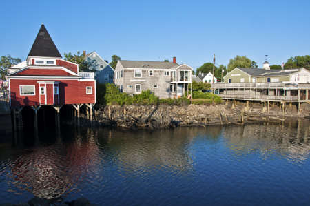 KENNEBUNKPORT, MAINE, USA - JULY 2011 - Houses and shops built on piles on July 30, 2011 in Kennebunkport, Maine, USA