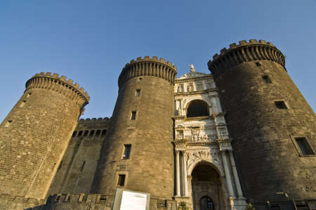 facade and towers of Maschio Angioino, Naples, Italy Editorial
