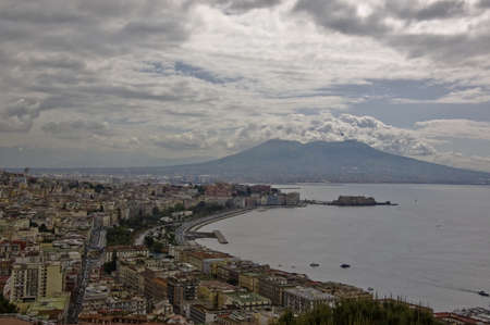 view of the bay of Naples and the Mt  Vesuvius, Italy Stock Photo - 12577149