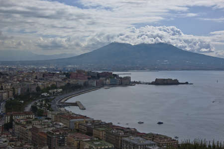 gulf: view of the bay of Naples and the Mt  Vesuvius, Italy Stock Photo