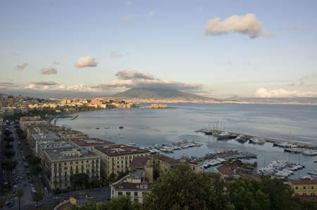 view of the bay of Naples and the Mt  Vesuvius, Italy Stock Photo - 12577151