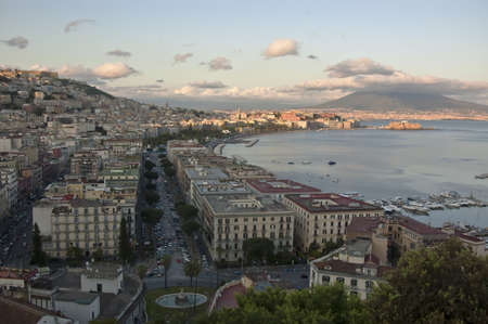 view of the bay of Naples and the Mt  Vesuvius, Italy Stock Photo