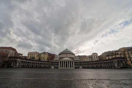 view, square and statues in Piazza Plebiscito, Naples, Italy