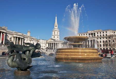 trafalgar: fountain at Trafalgar Square in London, UK