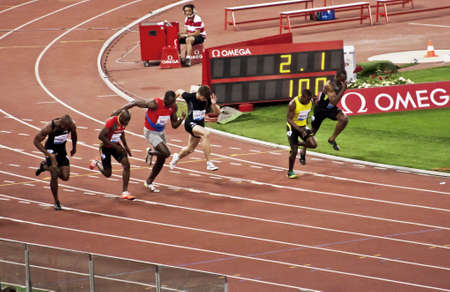 ROME . May 31: Usain Bolt runs and wins 100 m speed race at Golden Gala in the Olympic Stadium on May 31, 2012 in Rome
