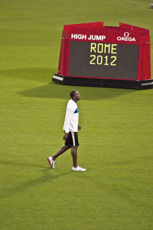 ROME . May 31: Usain Bolt wins 100 m speed race at Golden Gala in the Olympic Stadium on May 31, 2012 in Rome