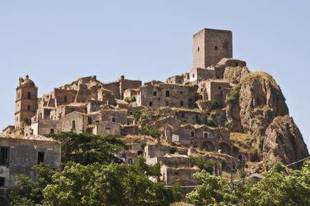 basilicata: the ghost and abandoned city of Craco, Basilicata, Italy  Editorial