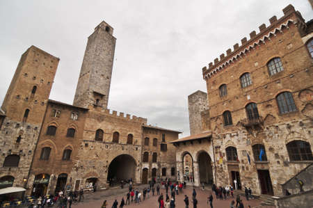 SAN GIMIGNANO, ITALY - APRIL 04: view of Piazza del Duomo on April 04, 2012 in San Gimignano, Italy. The medieval town of San Gimignano is one of the most famous turist attraction in Tuscany.