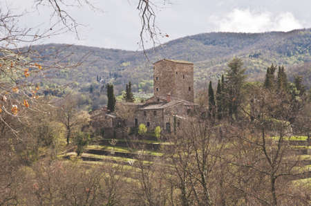 Middeleeuws kasteel in Chianti, Toscane, Italië Stockfoto - 15055837