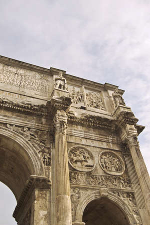 constantino: details of the Constantine Arch in Rome, Italy Stock Photo