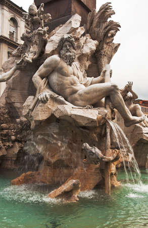 details fo the Fountain of the four rivers in Piazza Navona, Rome photo