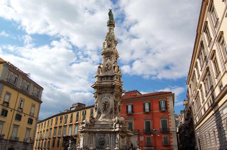 obelisc: monuments and obelisc in Piazza del Ges� Nuovo in Naples, Italy