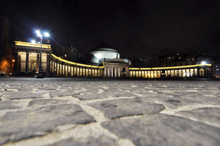 night view of Piazza Plebiscito in Naples. Italy Stock Photo - 15792475