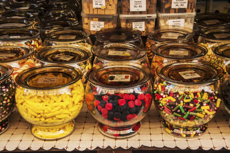 colored and delicious candies in Prague market photo