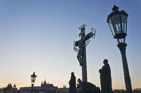 st charles: statue di St. Ponte Carlo a Praga, Repubblica Ceca Archivio Fotografico