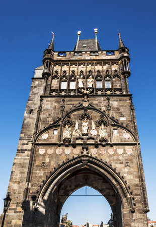 tower on the charles bridge in Prague, Czech Republic photo