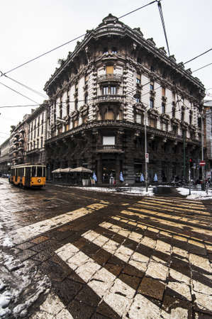 europeans: street and cityscape in Milan, Italy