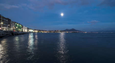view of the mount vesuvius and the bay of Naples, Italy