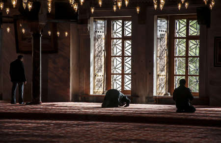 muslims praying in istanbul mosque, turckey Stock Photo - 18080337