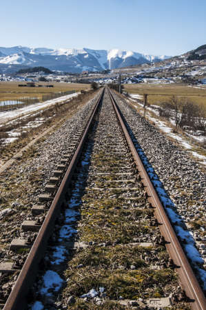 abruzzo: railroad among mountains in Abruzzo, Italy
