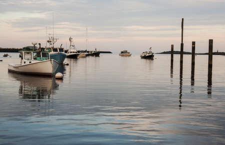 ellis: boats on the atlantic ocean in Camp Ellis, Maine, Usa Stock Photo