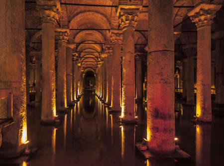 inside the roman cistern in Istanbul turkey