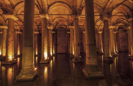 inside the roman cistern in Istanbul turkey