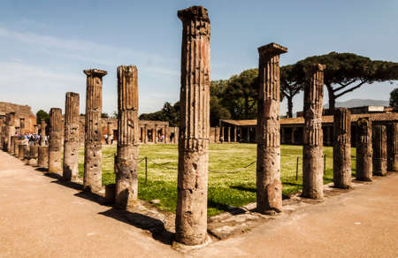 view of the palestra ruins in Pompeii, Italy photo