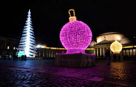 christmas decoration in Piazza Plebiscito in Naples, Italy