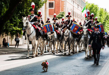 arma: ROME - JUNE 01  the traditional Carabinieri Band have a parade on June 01, 2014 in Rome, Italy