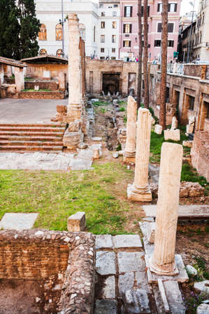 sacra: ROME - JUNE 01  roman temple ruins in the so-called Area Sacra on June 01, 2014 in Rome  Italy