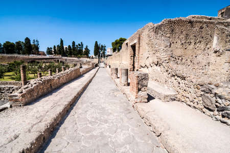 archaeologists: view of the Herculaneum excavation, Naples, Italy Stock Photo