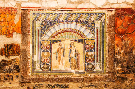 Roman mosaic in the lost city of Herculaneum, Italy Stock Photo - 31381826