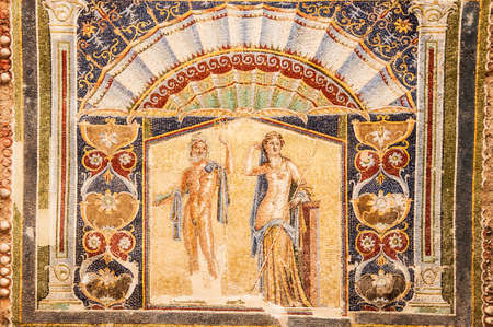 Roman mosaic in the lost city of Herculaneum, Italy