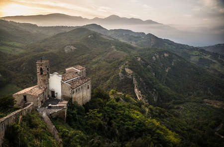 the spectacular view of the Church in Roccascalegna Among mountain in Abruzzo, Italy