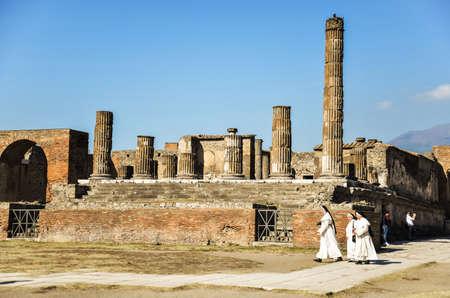 lost city: POMPEII - NOVEMBER 2: Roman archeologic ruins of the lost city of  Pompeii on November 2, 2014 in Pompeii,  Italy