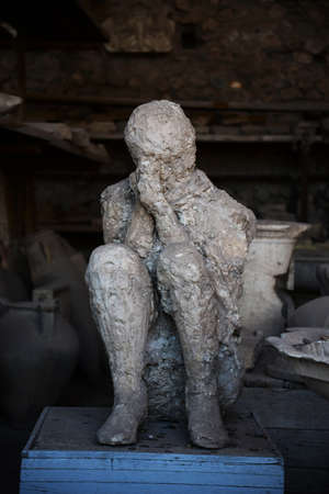lost city: Roman victim in the lost city of  Pompeii, Italy