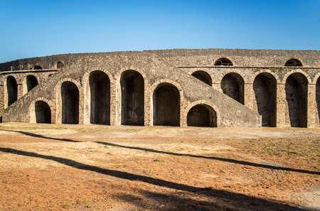 lost city: POMPEII - NOVEMBER 2: Roman anphitheater ruins of the lost city of  Pompeii on November 2, 2014 in Pompeii,  Italy