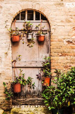 bird s house: italian door in the small village, Italy