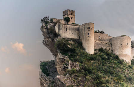 the spectacular view of the fortress on the rock in Roccascalegna in Abruzzo, Italy Editorial