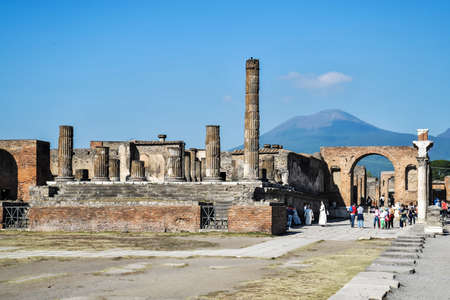 lost city: POMPEII - NOVEMBER 2: Roman archeologic ruins of the lost city of Pompeii, destroyed by the Vesuvius eruption on November 2, 2014 in Pompeii, Italy Editorial