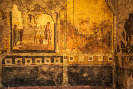 italian fresco: detail of roman frescoes in Pompeii, Italy