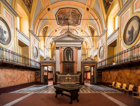 pace: historic hall inside S. Maria della Pace, Naples, Italy