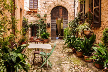 medieval building in the small town of Spello, Italy Stock Photo - 37133422
